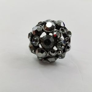 Cocktail Ring Adjustable Gray Faux Gunmetal Rhines